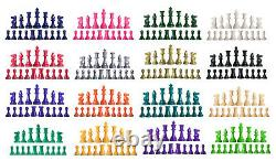 16 Half Sets Staunton Triple Weight Chess Pieces Two Queens 16 Colors