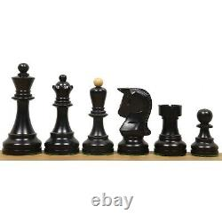 1950 Reproduced Bobby Fischer 3.7 Dubrovnik Chess Pieces Set Ebonised Boxwood