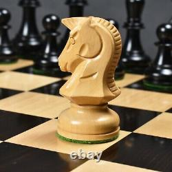 1970s' Dubrovnik Chess Pieces Only Set- Triple Weighted Ebony Wood 3.8 King