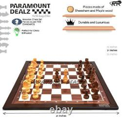 21 Large Wood Tournament Chess board with Weighted German Pieces Set and Bag