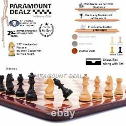 21 large Tournament wood chess set with Staunton Weighted Pieces & Extra Queens