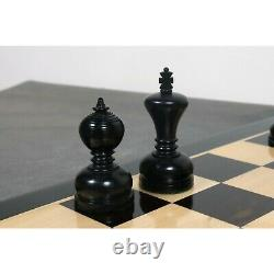 3.1 Library Series Staunton Chess Pieces Only Set Weighted Ebonised Boxwood