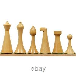3.6 Herman Ohme Minimalist Chess Pieces Only set- Weighted Ebonised Boxwood