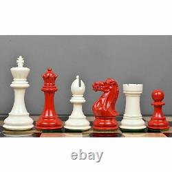 3.75 Club Staunton Chess Pieces Set Painted Boxwood Red & White Weighted 4Q
