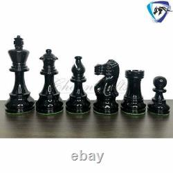 3.8 Classic Staunton Chess pieces Set Boxwood Painted Red & Black Weighted 4Q