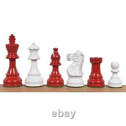 3.8 Red & Ivory White Painted Staunton Chess Pieces only set Weighted Boxwood