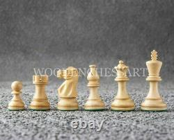 3.8 Staunton Chess Pieces Only Set Double Weighted Ebonized Boxwood