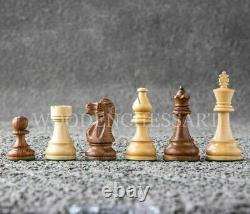 3.8 Staunton Chess Pieces Only Set Double Weighted Golden Rosewood