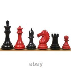 3.9 Alban Staunton Chess Pieces Only set- Double Weighted Red & Black Dyed Wood