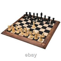 3.9 Lessing Series Staunton Chess Pieces only Set- Ebony Wood Triple Weighted