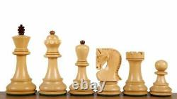 3.9 Russian Zagreb Chess Pieces set Golden Rosewood +Boxwood Weighted 4 Queens