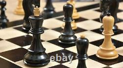 3.9 Russian Zagreb Chess Pieces set in Ebonized Boxwood Weighted 4 Queens