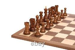 3.9 Russian Zagreb Chess Pieces set in Golden Rosewood & Boxwood Weighted 4Q