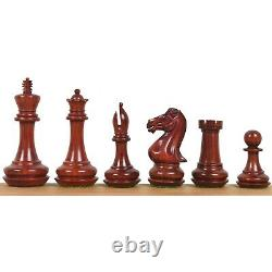 4.1 Chamfered Base Staunton Chess Pieces Only set- Triple Weighted Bud RoseWood