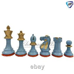 4.1 Painted Wooden Staunton chess pieces set Weighted Boxwood SUN & SKY 4Q