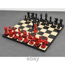 4.1 Pro Staunton Weighted Red & Black Painted Wooden Chess Pieces Only Set