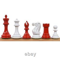 4.1 Pro Staunton Weighted Red & White Painted Wooden Chess Pieces Set -4 queens