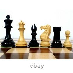 4.1 Pro Staunton Weighted Wooden Chess Pieces Only Set Ebonised Boxwood