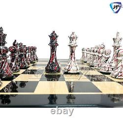 4.1 Textured Painted Wooden Staunton chess pieces set Weighted Boxwood 4Q ART