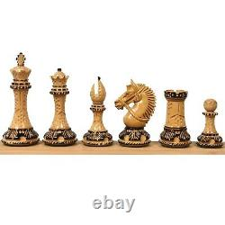 4.2 American Staunton Luxury Chess Pieces Only Set-Hand Carved Weighted Boxwood