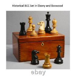 4.3 British Chess Company (BCC) Chess Pieces Only set- Ebony Wood-Triple Weight