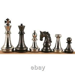 4.3 Staunton Inspired Brass Metal Luxury Chess Pieces Only Set-Silver & Antique