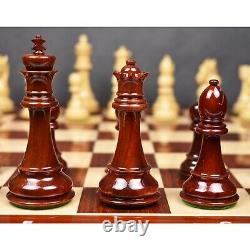 4.4 Bridled Staunton Luxury Chess Pieces Only Set Lacquered Bud Rose Wood