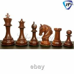 4.5 Bud Rosewood Staunton Chess Pieces Set King Arthur 4Queens & Weighted
