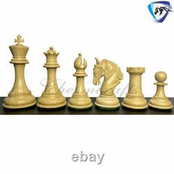 4.5 Ebony Wood Staunton Chess Pieces Set King Arthur 4Queens & Weighted