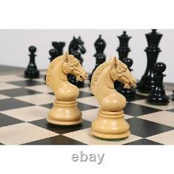 4.5 Sheffield Staunton Luxury Chess Pieces Only Set -Triple Weighted Ebony Wood