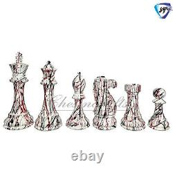 4.5 Textured Painted Wooden Staunton chess pieces set Weighted Boxwood 4Q ART