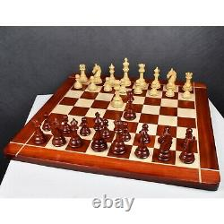 4.6 Rare Columbian Triple Weighted Luxury Chess Pieces Only Set -Bud Rose Wood