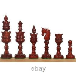 4.7 Hand Carved Lotus Series Chess Pieces set in Weighted Bud Rose Wood