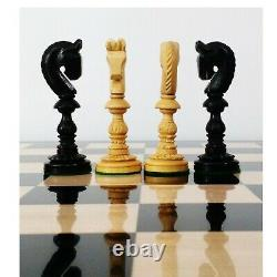 4.7 Hand Carved Lotus Series Chess Pieces set in Weighted Ebony Wood