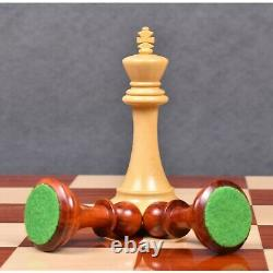 4 Sleek Staunton Luxury Chess Pieces Only Set Triple Weighted Bud Rose Wood