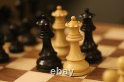 Acacia 15.5in Handmade Chess Set With Weighted Ebonized Chess Pieces Extra Queen