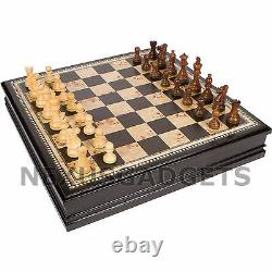 Adaz Chess EXTRA LARGE 19 Inch Game Set Weighted Pieces BURL Inlaid Wood Board