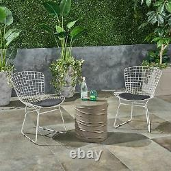 Anessa Outdoor 3 Piece Iron and Light Weight Concrete Chat Set, Black and Light