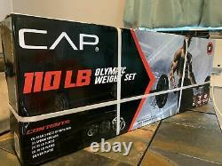CAP 110 lb Olympic Weight Lifting Set Steel Bar 2 Plates Black 3 Piece Home Gym