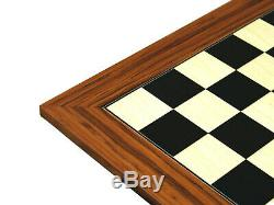 Chess Board Large Wooden Palisander Set Weighted Roman Metal Chess Pieces 20