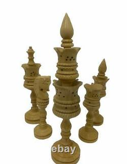 Chess Set Hand carved King 8 32 Wooden Weighted Handmade Carved Chess Pieces