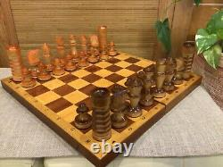 Chess Set Wooden Handmade Weighted Chess Pieces Board(VTG) Russian Full Set Gift