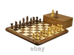Chess Set Wooden Solid Sheesham Board 16 Weighted French Knight Pieces 3