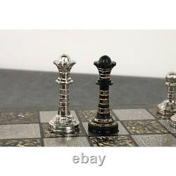 Classic Staunton Brass Metal Luxury Chess Pieces & Board Set-12-Silver and Blac