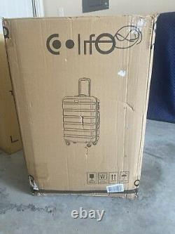 CoolLife Luggage 3-piece Set Black Spinner Hard shell Light Weight