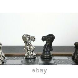Deluxe Series Brass Metal Luxury Chess Pieces & Board Set- 15 -Rosewood border