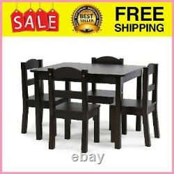 Kids Wood Table and 4 Chairs Set, 5-Piece Espresso, 28.66 Pounds Weight