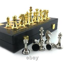 Kirsite Metal Large Weighted Pieces Gold Chess Set Chessboard Inlaid Wood Board