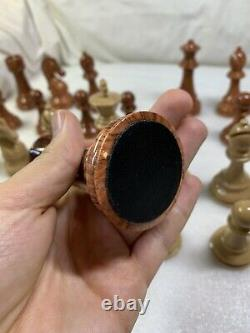 Large Size Plastic Chess Set Vintage Weighted Pieces