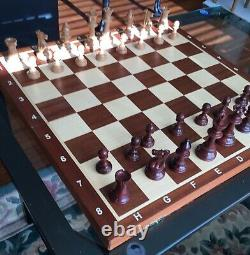 Large Staunton solid weighted plastic chess pieces 20 wood custom board set HTF